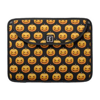 Rows of Spooky Halloween Pumpkins MacBook Pro Sleeves
