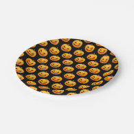 Rows of Spooky Halloween Pumpkins 7 Inch Paper Plate