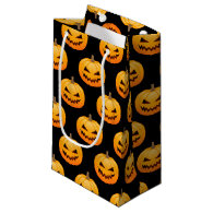 Rows of Spooky Halloween Pumpkins Small Gift Bag