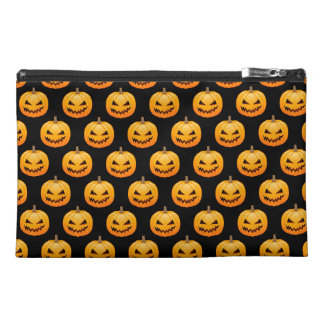 Rows of Spooky Halloween Pumpkins Travel Accessories Bags