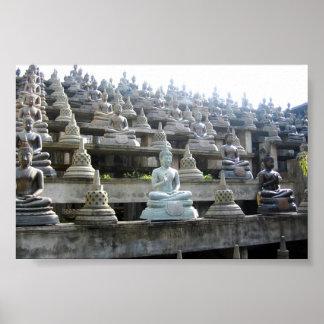 Rows of Sri Lankan Buddhas and stulpas Poster