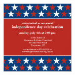 """Rows of Stars Independence Day invitation 5.25"""" Square Invitation Card"""