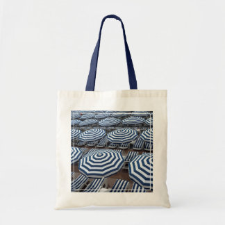Rows Of Striped Beach Umbrellas With Sun Beds Tote Bag