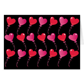 Rows & Rows of Heart Balloons on Black Card