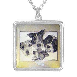 Roxanne's Furbabies artwork by Carol Zeock Square Pendant Necklace