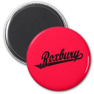 Roxbury script logo in black 2 inch round magnet