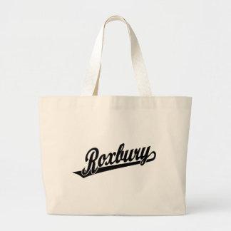 Roxbury script logo in black bag