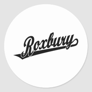 Roxbury script logo in black classic round sticker