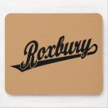 Roxbury script logo in black mouse pad