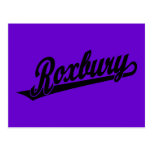 Roxbury script logo in black postcard