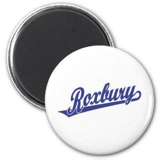 Roxbury script logo in blue 2 inch round magnet
