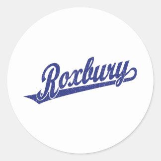 Roxbury script logo in blue distressed classic round sticker
