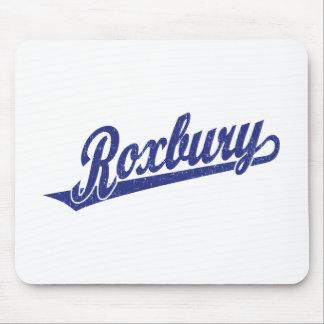 Roxbury script logo in blue distressed mouse pad