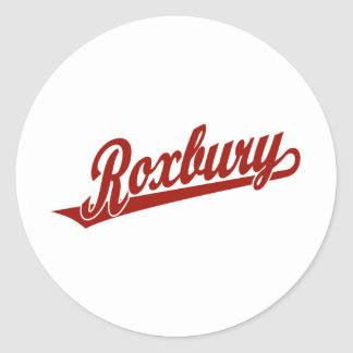 Roxbury script logo in red classic round sticker