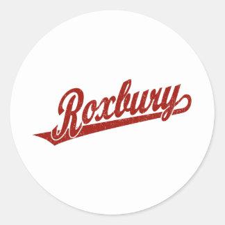 Roxbury script logo in red distressed classic round sticker