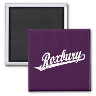 Roxbury script logo in white 2 inch square magnet