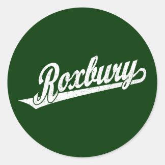 Roxbury script logo in white distressed classic round sticker