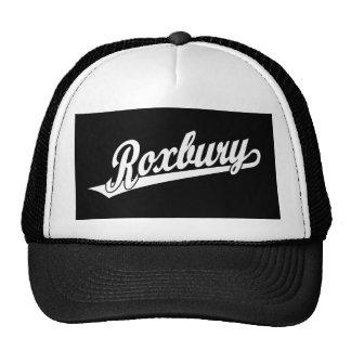 Roxbury script logo in white trucker hat