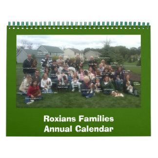 Roxians Families Annual Callendar Calendar