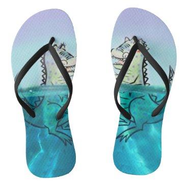 Beach Themed Roxie and Rex Custom Adult, Slim Straps Flip Flops