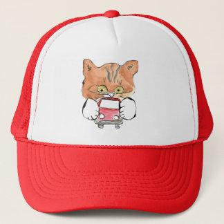 Roxy Kitty Grabs a Little Red Car Trucker Hat