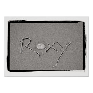 Roxy Name in Beach Sand Writing Poster