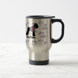 Roxy Rocks with Climbing Flowers pattern 15 Oz Stainless Steel Travel Mug