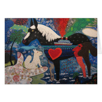 Roy De Forest A Coasting Horse 1976 Painting Greeting Card