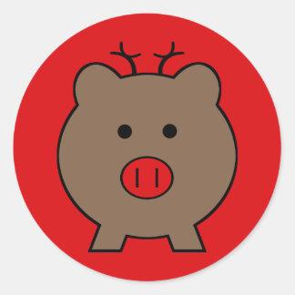 Roy el cerdo del navidad pegatina redonda