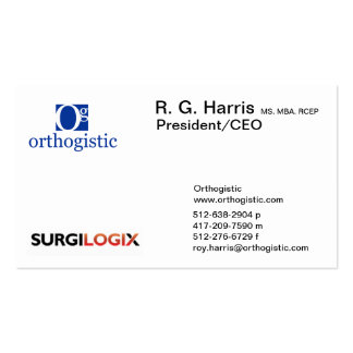 Roy Harris - Orthogistic Business Card