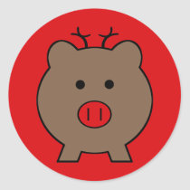 Roy the Christmas Pig Classic Round Sticker