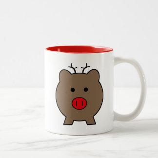 Roy the Christmas Pig Two-Tone Coffee Mug