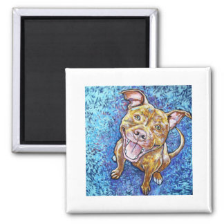 ROY the pitbull 2 Inch Square Magnet