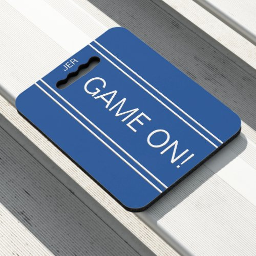 Roya lBlue GAME ON Quote Monogram Stadium Sports Seat Cushion