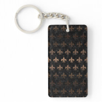 ROYAL1 BLACK MARBLE & BRONZE METAL (R) KEYCHAIN