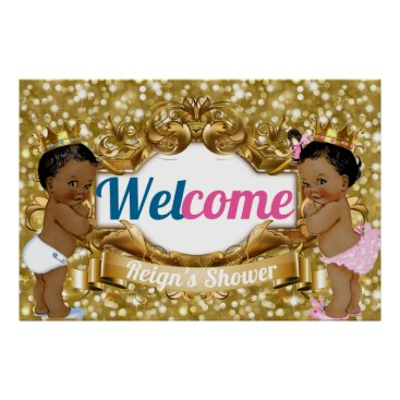Art Themed Royal African Gender Reveal Glitter Welcome Poster