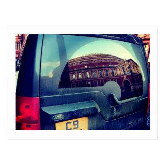 Royal Albert Hall reflected in Land Rover, London Postcard
