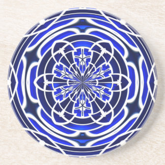 Royal and Navy Blue Stained Glass Windows Sandstone Coaster