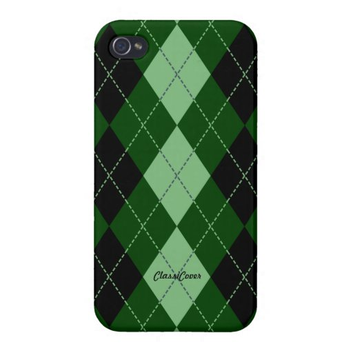 Royal Argyle Black Green Pattern Savvy iPhone 4 Cases