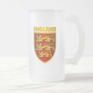 Royal Arms of England Frosted Glass Beer Mug