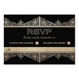 Royal Art Deco Wedding RSVP Cards - Gold Foil