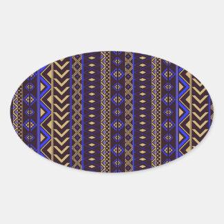 Royal Aztec Pattern. Oval Sticker
