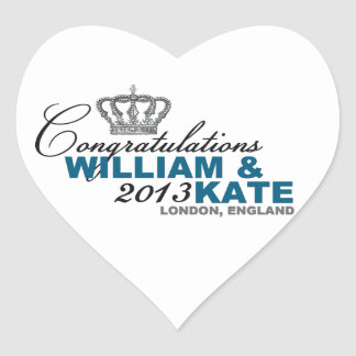 Royal Baby 2013: Congratulations William & Kate Heart Sticker