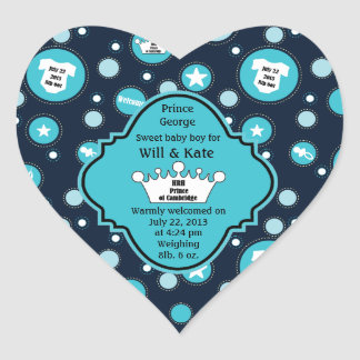 Royal Baby Boy for William and Catherine 2013 Heart Sticker