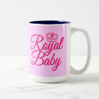 Royal Baby in Pink with Crown Two-Tone Coffee Mug