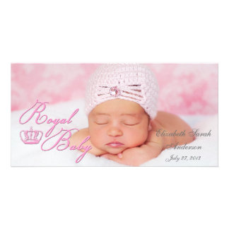 Royal Baby in Pink With Vintage Crown Photo Card