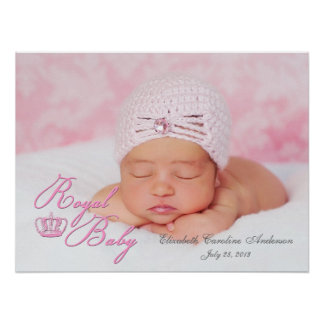 Royal Baby in Pink With Vintage Crown Poster