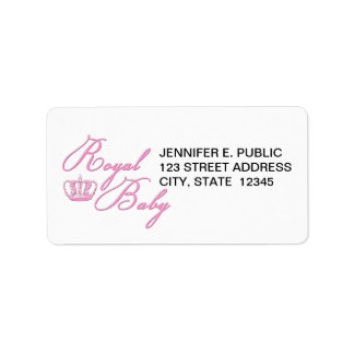 Royal Baby Pink With Crown Address Label