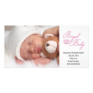 Royal Baby Pink With Crown Card