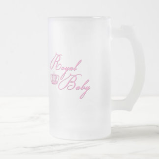 Royal Baby Pink With Crown Frosted Glass Beer Mug